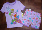 DISNEY FAIRY PIXIE TINKERBELL GIRLS SHORTS TOP PAJAMAS COTTON JAMMIES SET 2 3 4