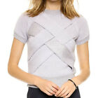 New Exquisite Cross Front Slim Knitted Tops Short Sleeve Women Pullover Sweater