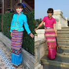 Woman's Thai Cotton Silk Lotus Wrap Sarong long Skirt Tie Waist from Thailand