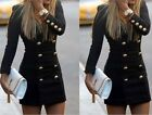 Double Breasted V Neck Slim Outwear Jacket Medium Long Casual Coats For Women
