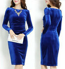 Fashion Womens Elegant Temperament Winter Spring Long Sleeve Velvet Dress