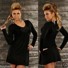 028 CASUAL EMBROIDERED LONG SLEEVE MINI BLACK DRESS/TUNIC ONE SIZE REGULAR