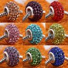 Popular Crystal Rhinestone Resin European Large Hole Beads Fit Charms Bracelet