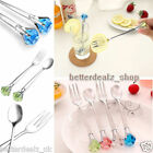 2pc Crystal Diamond Stainless Steel Tableware Silverware Drink Ladle Spoon Fork