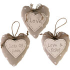 Shabby Chic Fabric Heart Signs  Valentines, Mothers Day, Love and Kisses14cm
