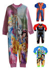 KIDS PRINTED FLEECE ONESIE BOYS GIRLS TODDLER SUPERMAN SPIDERMAN PJs ALL IN ONES