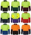 3 PACK Mens Hi Vis Traditional Long Sleeve Polo Shirt 6HVPL | Tradie, Trade Wear