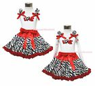 Valentine's Day Heart Red Sparkle Love White Top Red Zebra Skirt Outfit 1-8Year