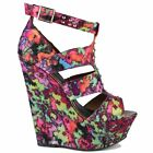 Ladies Womens Multi Coloured High Heel Platform Wedge Peep Toe Strappy Sandals
