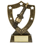Motorsport Trophies Resin Gold Spark Plug Shield Award 3 sizes FREE Engraving