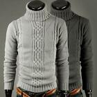 Handsome Mens Clothing Roll High Polo Turtleneck Jumper Knitted Sweater Pullover