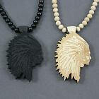 1Fashion Hip-Hop style Wood good The Apache Knight Pendant Beads Chain Necklace