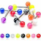 1 x Marble Ball Tongue Nipple Bar Barbell 14GA (1.6MM ) Sizes From 6MM to 22MM