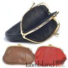 Ladies Leather Triple Frame Fastening Coin Purse with Zip, Black, Red, Tan,