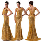 UK Fast P&P Gold Sequins Formal Bridesmaid Wedding Gown Evening Ball Party Dress