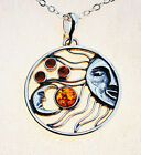 Sun Moon Pendant NATURAL BALTIC AMBER STERLING SILVER 925 JEWELLERY Jewelery