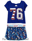 NWT Justice Girls Size 10 or 12 Patriotic Shorts & Tee Shirt Top 2-PC OUTFIT SET