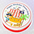 """Pirate Cake Topper -Personalised - Edible Wafer or Icing - 7.5"""" Round"""