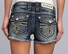 Rock Revival Louise Camo Stitch Stretch Denim Jean Shorts 2.5 inch inseam