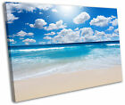 Scenic Beach Sunrise Blue Framed Canvas Wall Art Picture Print