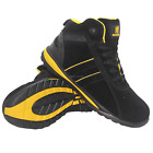 MENS GROUNDWORK SAFETY STEEL TOE CAP WORK SHOES TRAINER BOOTS BLACK LEATHER SIZE