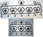 Heart Design Grey Wire 7 or 5 Hook Wall Rack Coat Keys Mugs Kitchen Shabby Chic