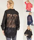 Sexy LACE BACK Sheer HI-LO 3/4 Sleeve PLUS SIZE Top XL/1X/2X/3X FREE SHIP
