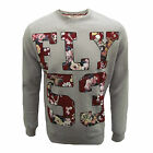 FLY 53 SWEATSHIRT DRASTIC MEASURES MENS GREY MARL FLORAL PRINT TOP UK XL