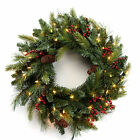 """Corded LED Pre-lit Cone & Berry 24"""" Christmas Wreath White"""