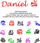 CHILDREN / KIDS NAME SELF INKING RUBBER STAMP 11069 TRANSPORT IMAGE NOVELTY FUN