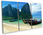 Krabi Thailand Island Beach Canvas Wall Art Picture Multi 3 Panel Split
