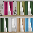 black panels - 2 PANELS SILK BLACKOUT THERMAL GROMMET FOAM LINED WINDOW CURTAIN DRAPE GO#l
