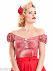 Collectif Dolores Gingham Check Pin Up Bardot Vintage Top 10 12 14 16 18 20 22