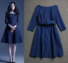 New Celeb Fashion Autumn Winter A Word Collar 3/4 Sleeve Womens Denim Dress