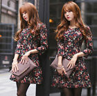 Fashion Elegant Womens Rose Floral 3/4 Sleeve Spring Autumn Slim Party Dress