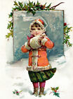 Christmas Cotton Fabric Block - Girl with Muff in Snow
