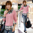 Sweet New Womens Ladies Long Sleeve Turn-down Collar Tops Shirt Casual Blouse