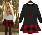 Elegant Fashion European Womens Hit Color Plaids Long Sleeve Cute Mini Dress