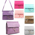 Womens Gold Chain Flap Office Satchel Briefcase Clutch Bag Handbags