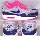 CUSTOMISED GREY,NEON PINK BLUE CRYSTAL BLING NIKE AIR MAX WOMENS LADIES TRAINERS