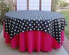 "20 Polka Dots 60""x60"" Satin Overlays Tablecloths Square Wedding Table Banquet"