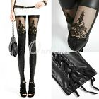 New Women Lady Black Sexy Slim Lace Punky Gothic PU Faux Leather Leggings Pants