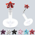 PTFE Crystal Gem Star Flexi Push In Tragus Ear Labret 16ga 1.2mm 6mm