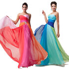 Rainbow Long Wedding Bridesmaid Graduation Evening Formal Party Dress 6 8 10 12+