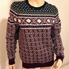 NWT Abercrombie & Fitch Women Macey Shine Sweater, BURGUNDY PATTERN, S, M