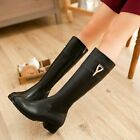 NEW Gorgeous Womens Black Cow Leather Heels Boots Sz 1-11.5(P116561)