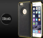 Luxury Leather Back with Metal Bumper Frame Case Cover for iPhone 5 5S 6 6Plus
