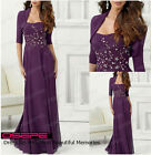 Purple Long Mother of The Bride Dress Formal Bridesmaid Dress With Free Jacket