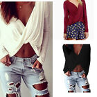Hot Womens Long Sleeve Deep V-neck Cross Twisted Crop Top Blouse Casual Clubwear