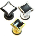 PAIR Square Stretcher Gothic Plug Upper Stainless Steel MENS Earrings Fake